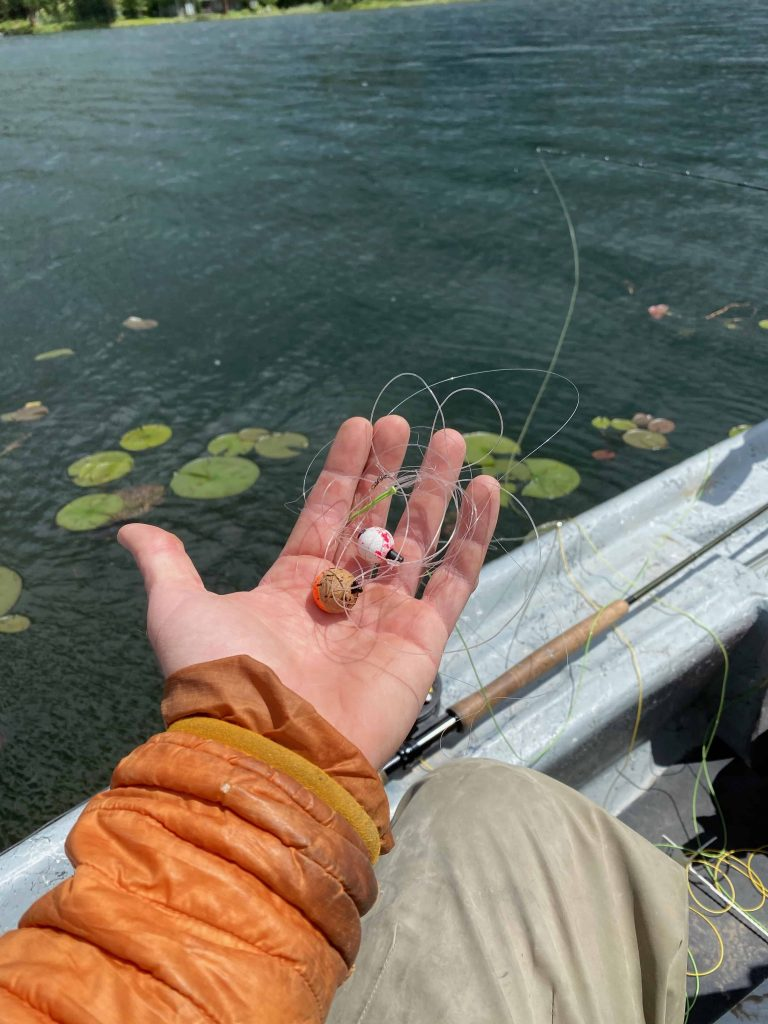 tangled fishing line with bobbers.