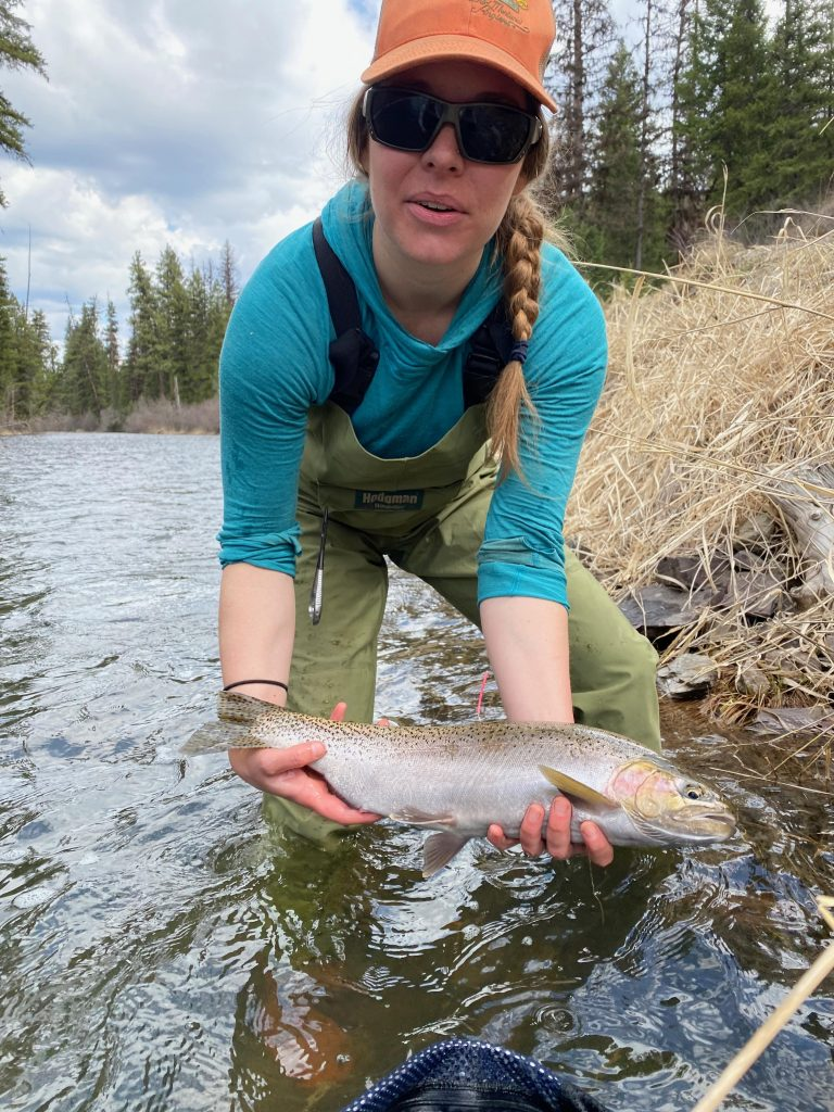 Kimberly M. with a large cutthroat trout.